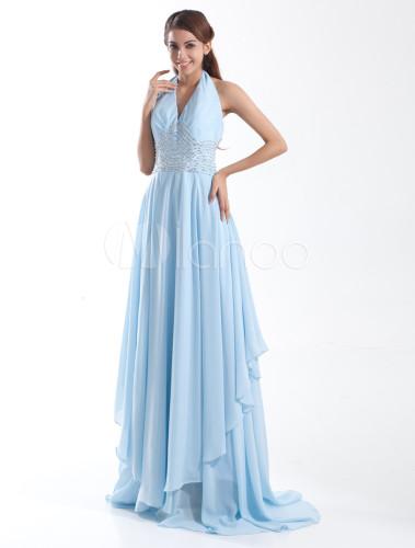 Robe de soir e blouissante bleu ciel claire a ligne en for Robes de mariage bleu ciel