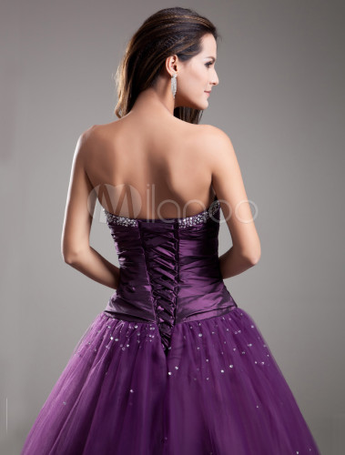c08db2a0fd5 Formal Grape Beading Tulle Sweetheart Neck Ball Gown - Milanoo.com