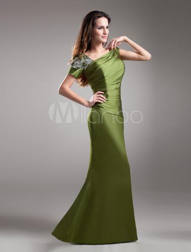 vestido para la madre de novia de satén elástico de verde esmeralda