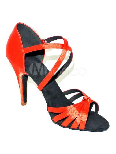 ... Chaussure de latine croisée rouge melon à talon aigu-No.4 ...