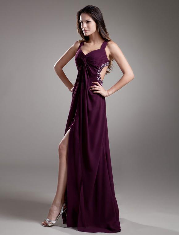 Prom-Kleid aus Chiffon in Dunkellila - Milanoo.com