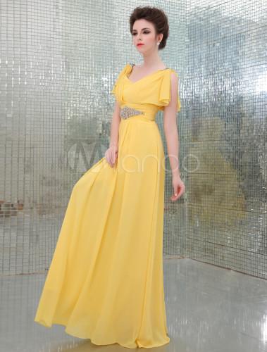 811113633d6 Земля желтая v-образным вырезом Трапеция бисером горный хрусталь шифона  вечернее платье -No.