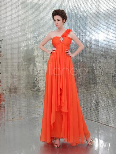 sports shoes 19a72 784db Abito arancione con monospalla da ballo elegante
