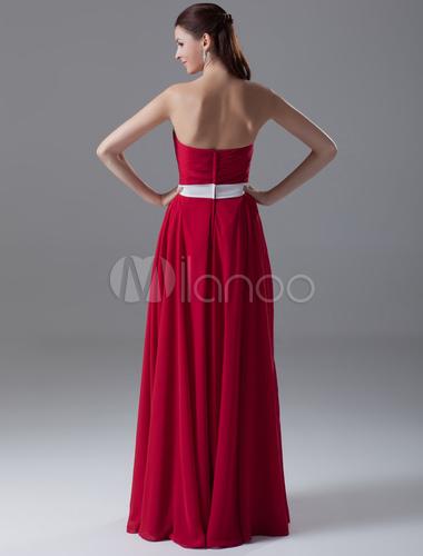 attillato a da chiffon Vestito in d'onore damigella scollo con rosso HRPaq