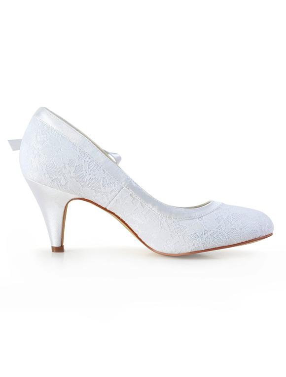 ... Chaussures de mariée à talons en soie et satin blanc avec dentelle  -No.4 ...