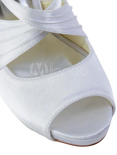 Milanoo / Beautiful White Criss-Cross Peep Toe Silk And Satin Pumps For Bridal