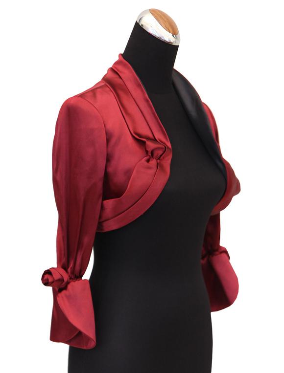 online retailer f66e0 d174b Coprispalle per matrimonio rosso in raso opaco floreale con maniche lunghe