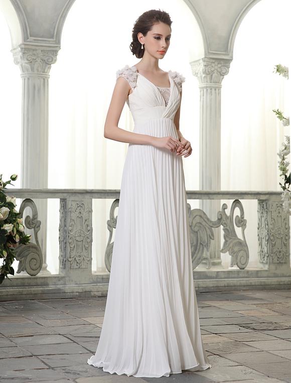 vestidos de novia de playa con cuello en v gasa vestido de novia de