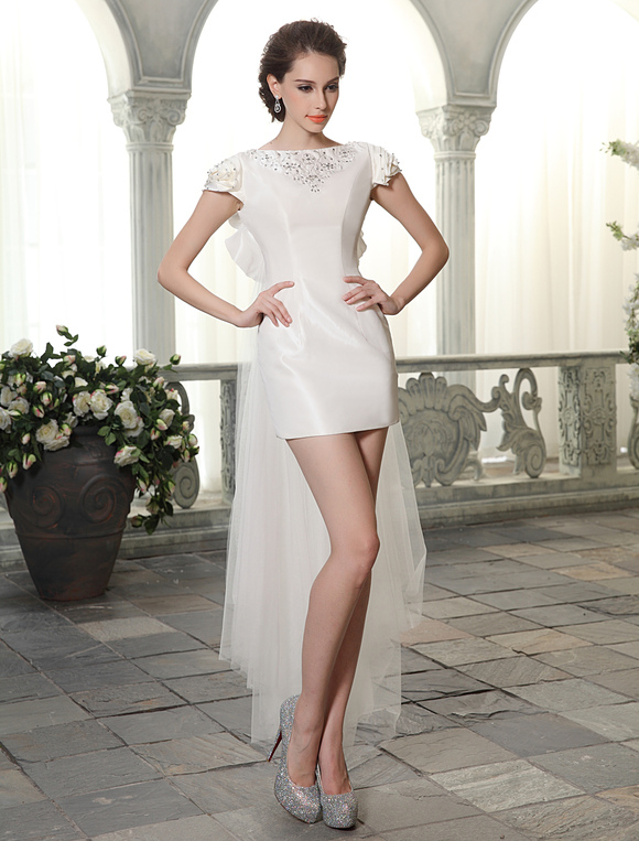 Chic Ivory Embroidered Halter Sheath Wedding Dress For
