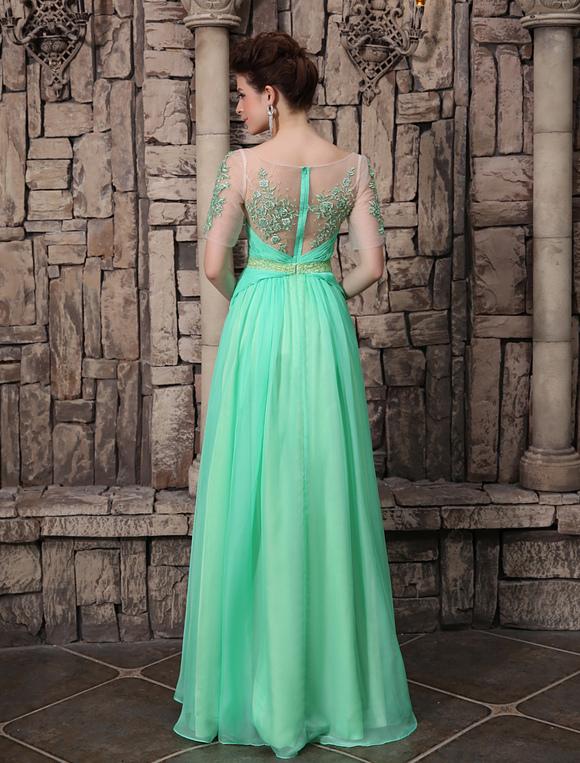 2e300ebfe Vestido de noche 3D chifón Color menta con 1/2 manga con escote ovalado con  bordado cintura natural