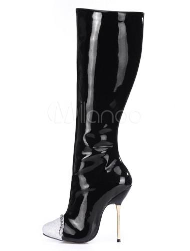 Botas a la rodilla de charol PU con cadena 0m6tFp
