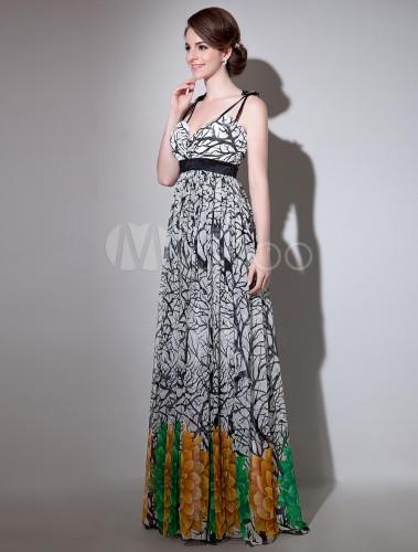 Milanoo / Long Prom Dresses 2017 African Print Prom Dress Floral Print Straps Cross Back Chiffon Party Dress M