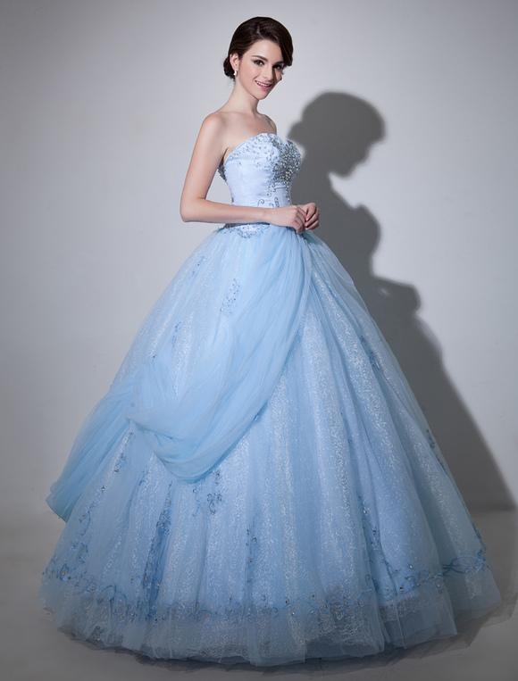 Robe De Mariage En Tulle Bleu Ciel Clair Brodé à Col En Coeur Milanoo