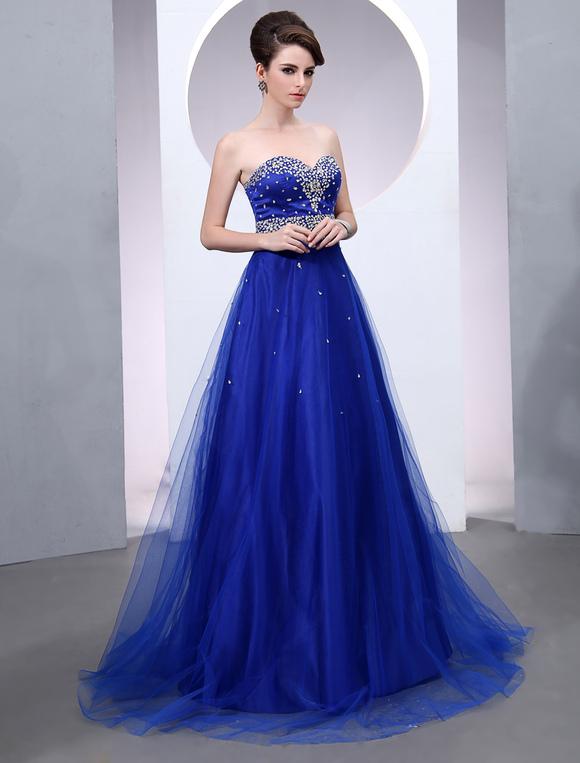 b92624666 ... Vestido de noche de tul de color azul real sin mangas con escote de  corazón ...