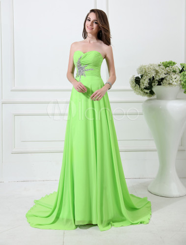 hochwertiges Design 9d0cf 807dd Prom-Kleid aus Chiffon in Neon-Grün