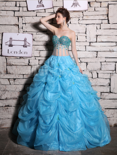 ad64e1c2f86 ... Aqua Quinceanera Dresses Illusion Beading Ball Gown Evening Dress  Organza Strapless Sweetheart Floor Length Party Dress ...