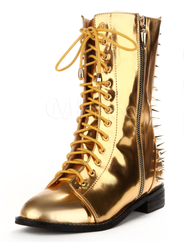 Attractive Gold Spikes Metallic Pu Leather Lace Up Boots