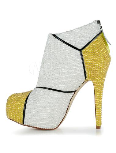 schicke ankle boots mit stilettos und perlen applikation. Black Bedroom Furniture Sets. Home Design Ideas