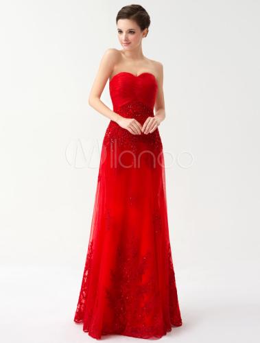 Robe bustier rouge de soiree