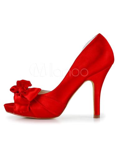 Zapatos Peep Toe de satén rojos con lazo fURQU