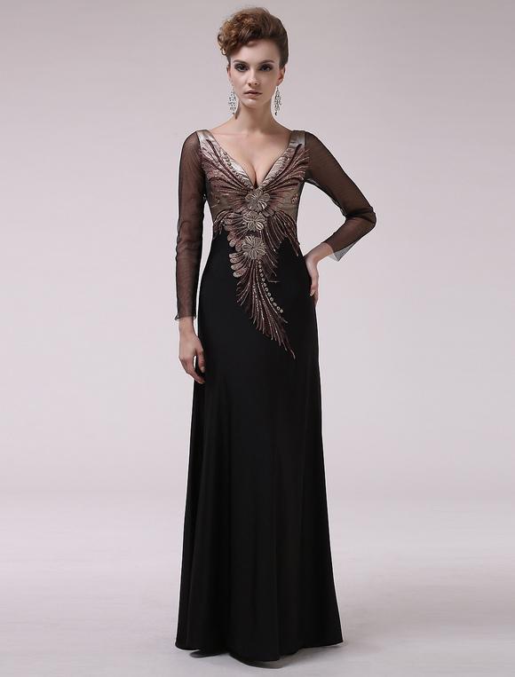 Wundersch nes abendkleid aus stretch satin mit v ausschnitt und stickereien in schwarz milanoo - Milanoo abendkleider ...