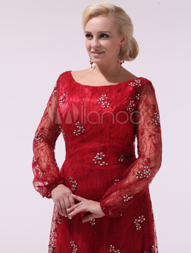 Plus Size Prom Dresses Long Sleeve Red Beading Lace Round Neck ...