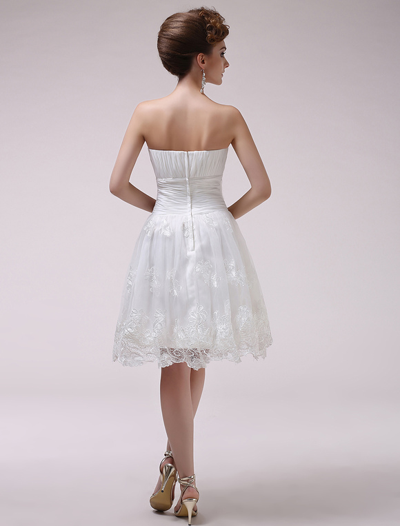 Ivory A-line Strapless Ruched Lace Knee-Length Wedding Reception Dress Milanoo