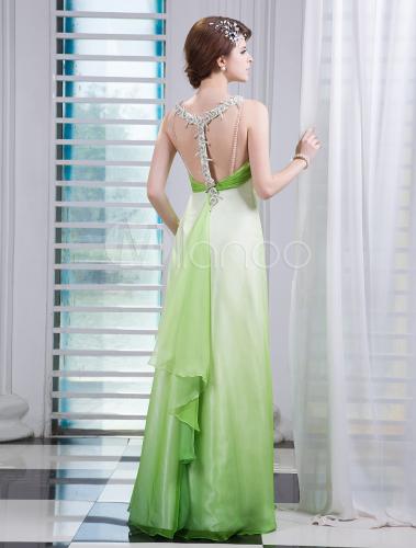 Green Halter Sleeveless Rhinestone Sheath Chiffon Prom Dress Milanoo
