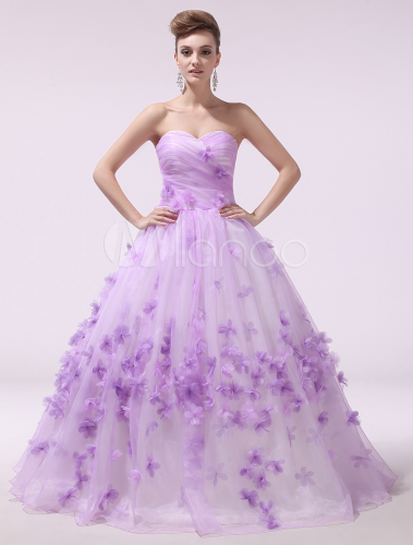 Lilac Wedding Dress Flower Bridal Gown Organza Strapless Sweetheart Lace Up Ruched Milanoo