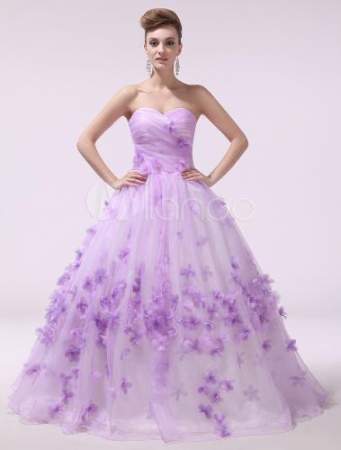 Lilac Wedding Dress 3D Flower Bridal Gown Organza Strapless ...
