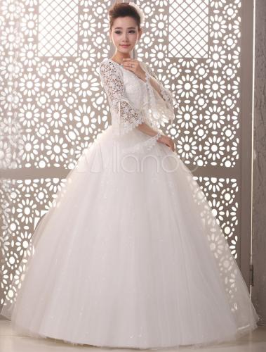 vestido de novia de tul de color marfil con manga larga - milanoo