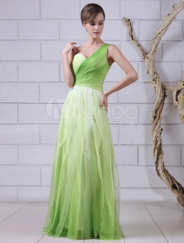 Green One-Shoulder Sleeveless Pleated A-line Chiffon Prom Dress  Milanoo