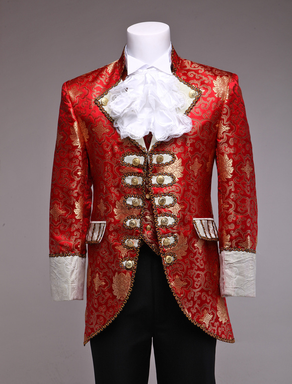 Retro Prince Costume Men S Red Jacquard European Vintage