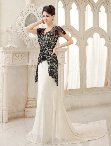 Black Mermaid Bridal Gown V Neck Lace Sweep Velvet Wedding Dress Milanoo No