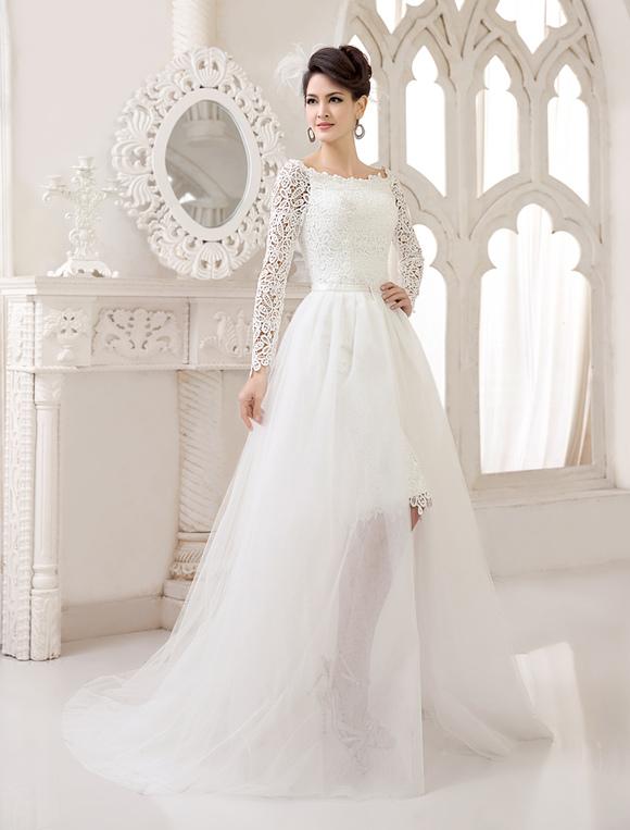 vestido de novia de encaje con diseño hueco de cola desmontable
