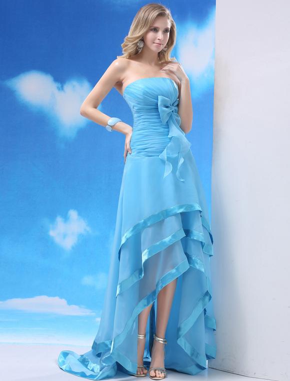 vestido de fiesta de organza de celeste claro sin tirantes milanoo