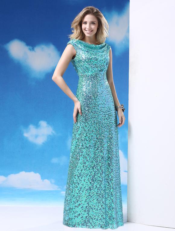 Ocean Blue Cowl Neck Sleeveless Sequin Sheath Prom Dress  Milanoo