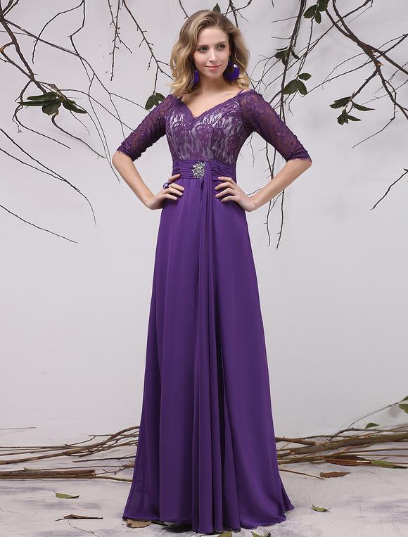 Chiffon Evening Dress Lavender Rhinestone Beaded Mother Of The Bride V Neck Half Sleeve Pleated