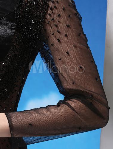 57c618f88b91 ... Abito da sera con monospalla nero sexy con paillettes e perline a sirena  a terra Milanoo ...