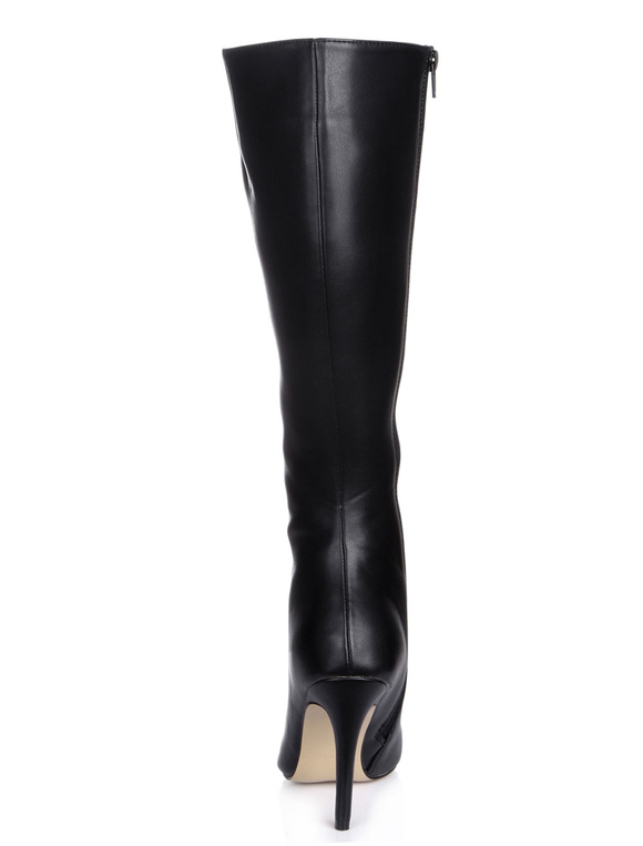 High Heel Boots Black Pointed Toe Wide Calf Knee High Boots Women