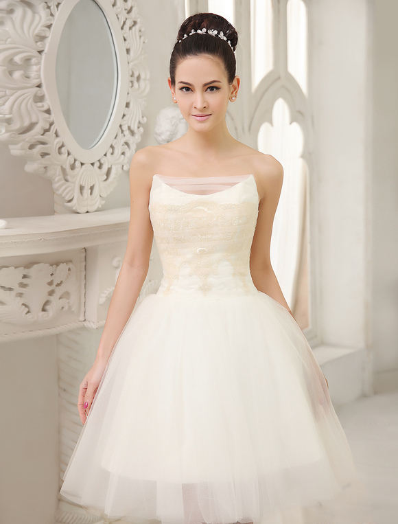 Ivory A-line Strapless Lace Knee-Length Tulle Wedding Reception Dress Milanoo
