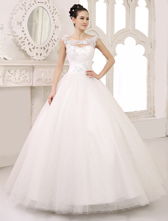 Ivory Ball Gown Scoop Neck Ruched Floor Length Brides Wedding Dress