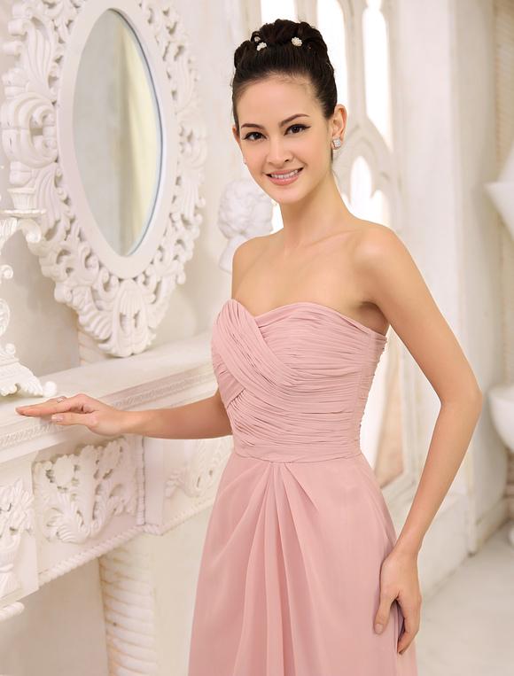 Brautjungfer kleider lang err ten rosa tr gerlosen hochzeit kleid plissee bodenlangen - Plissee kleid lang ...