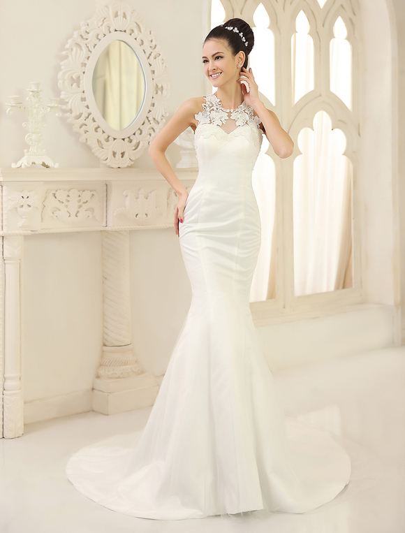 Wedding Dresses Mermaid Bridal Dress Lace Applique Satin Illusion ...