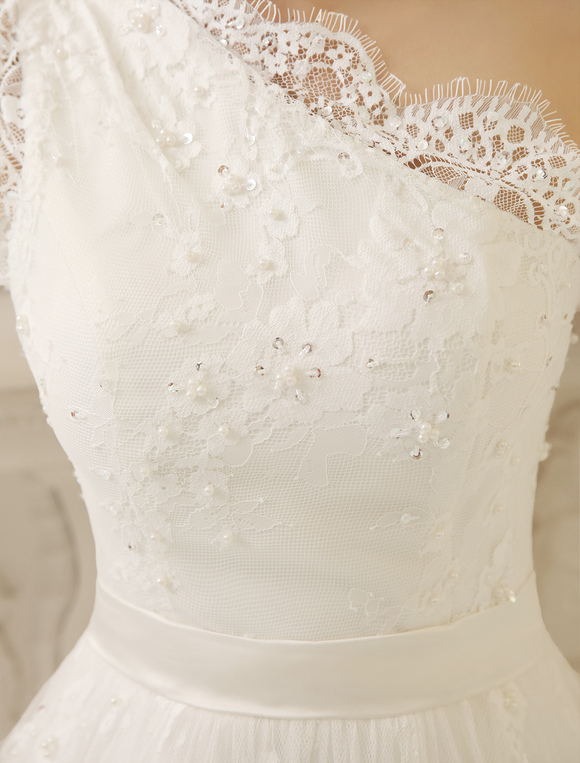 Knee-Length Ivory A-line Lace Wedding Dress For Bride with One-Shoulder  Milanoo