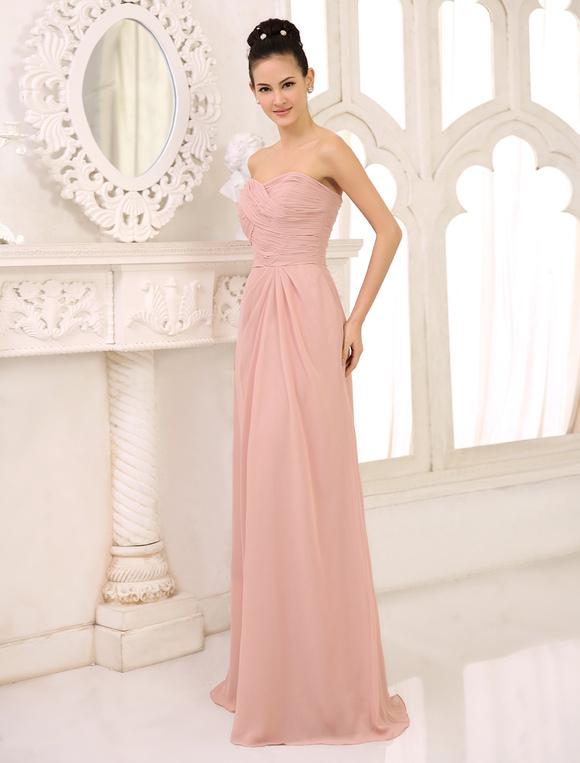 db0bb757e ... Vestidos de dama de honor Vestido largo sin tirantes rosado de la fiesta  de bodas Vestido ...