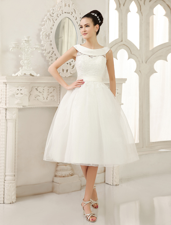 Ivory Knee Length Wedding Dress Cut Out Sash Lace Gown Milanoo No