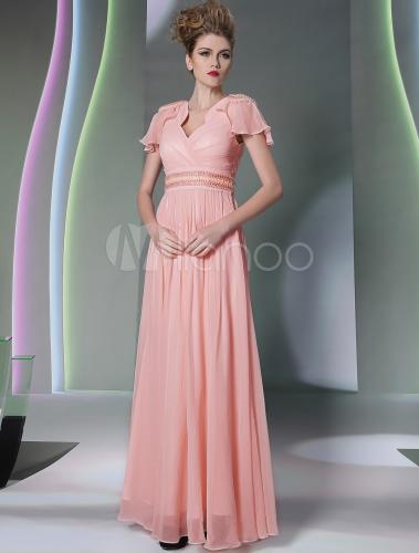 5241303403d Vestido de fiesta de chifón con escote en V y manga corta - Milanoo.com