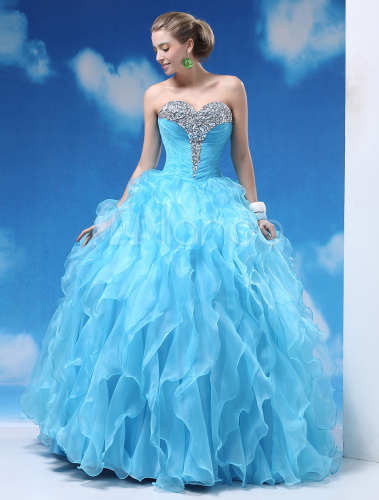 light sky blue ball gown floor length quinceanera dress. Black Bedroom Furniture Sets. Home Design Ideas