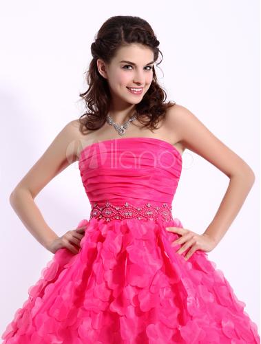 7da496529f2 ... Hot Pink Cocktail Dress Organza 3D Flowers Beaded Prom Dress Strapless  Sleeveless A Line Short Party ...